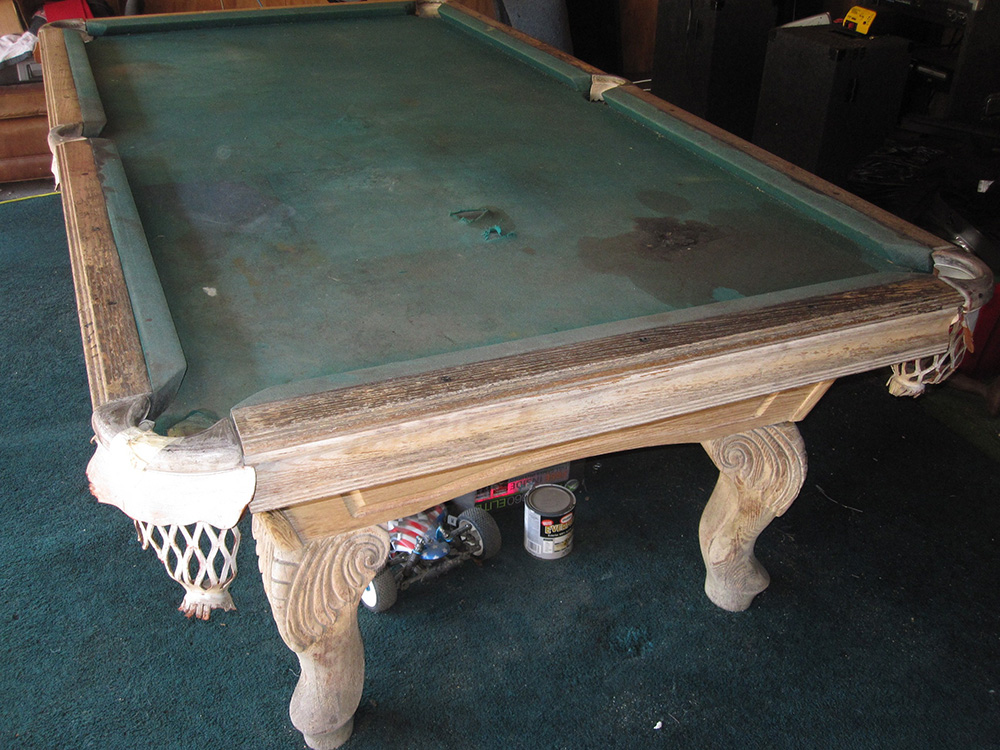 Dirty Old Pool Table Comes Clean Dk Billiards Service