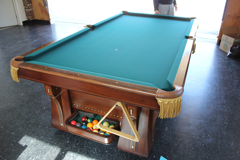 Antique brunswick stays in the family pool table service billiard supply orange county ca - Pool table green felt ...