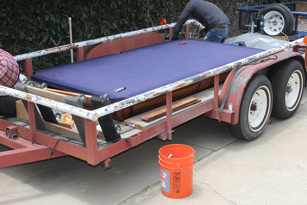 This is where the job starts, in the client's trailer. He hauled the pool table to Santa Ana from Poway.