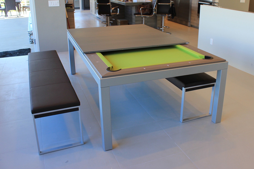 Modern Gray Oak Pool Table with Dining Option