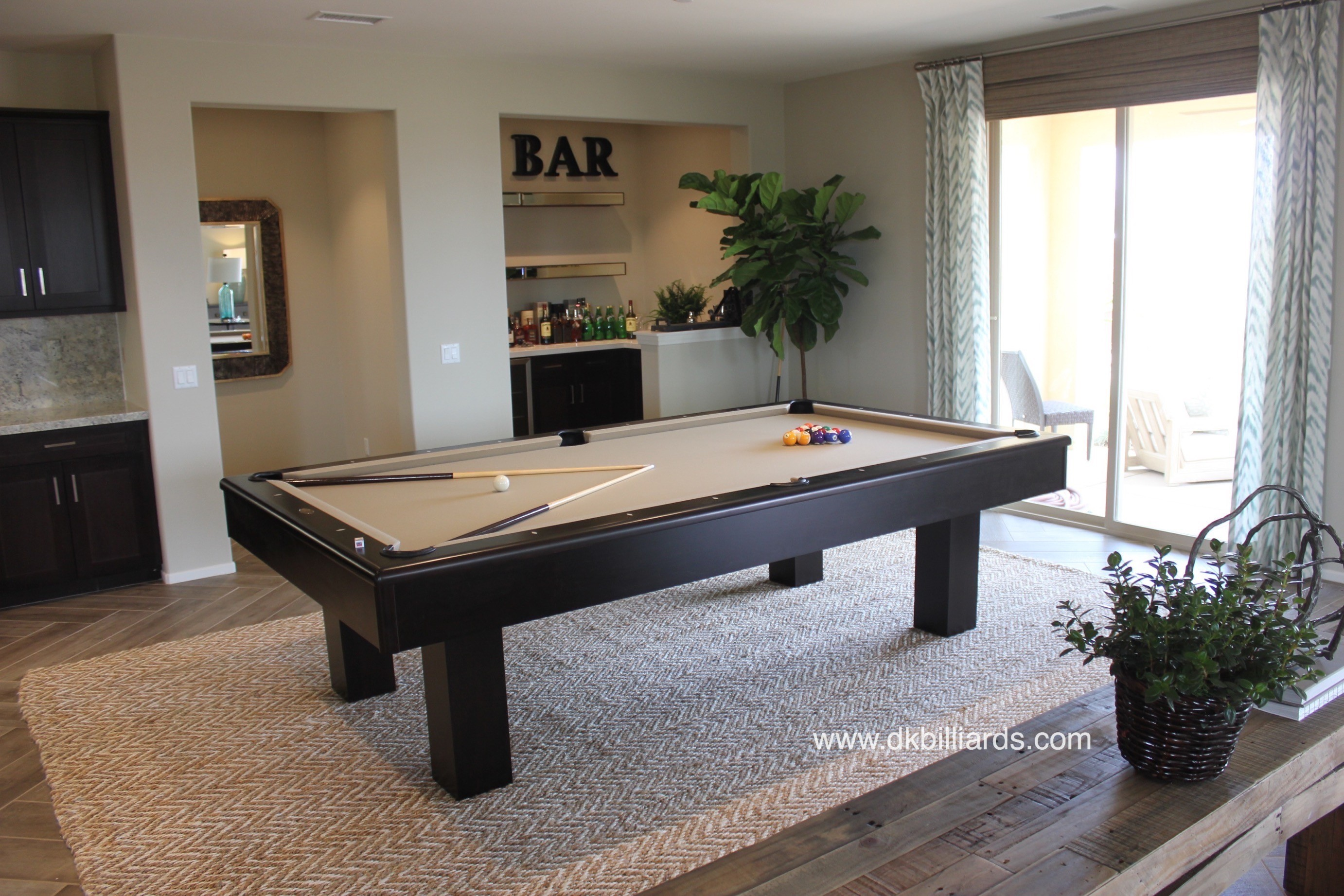 Contemporary Espresso Pool Table