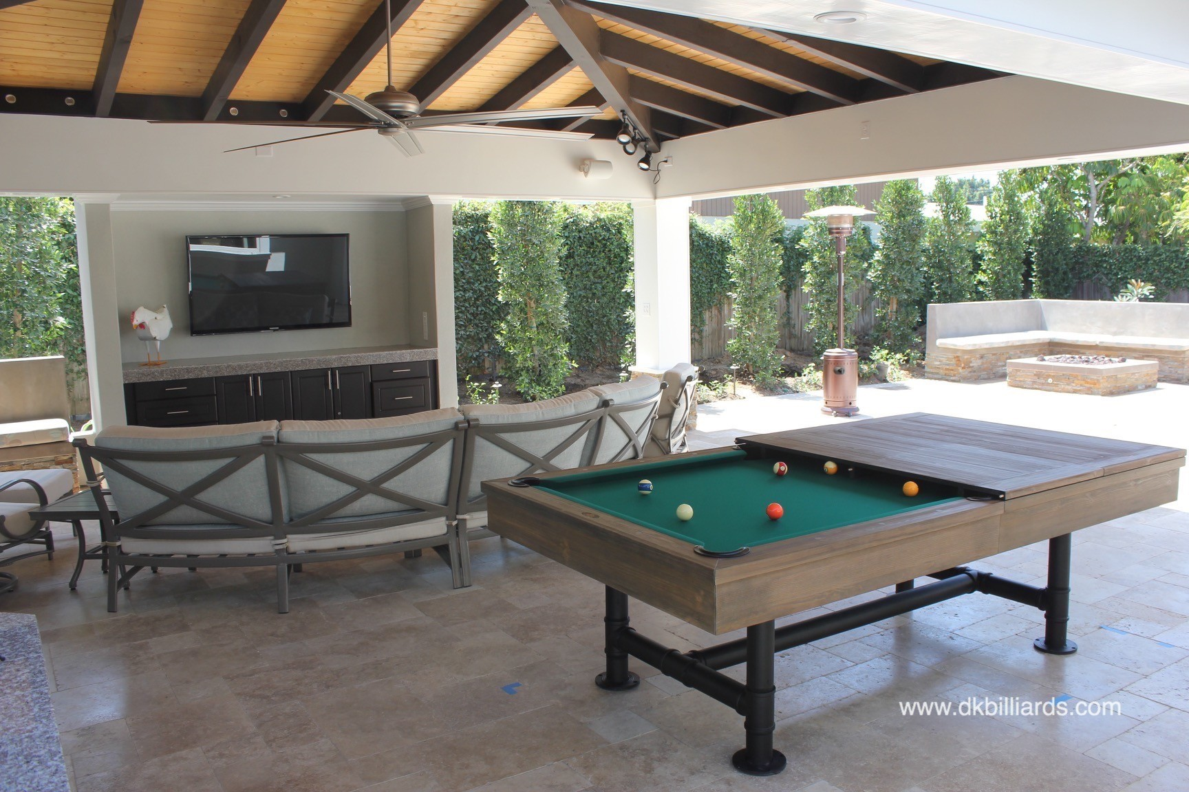 Rustic Dining Pool Table with Industrial Edge
