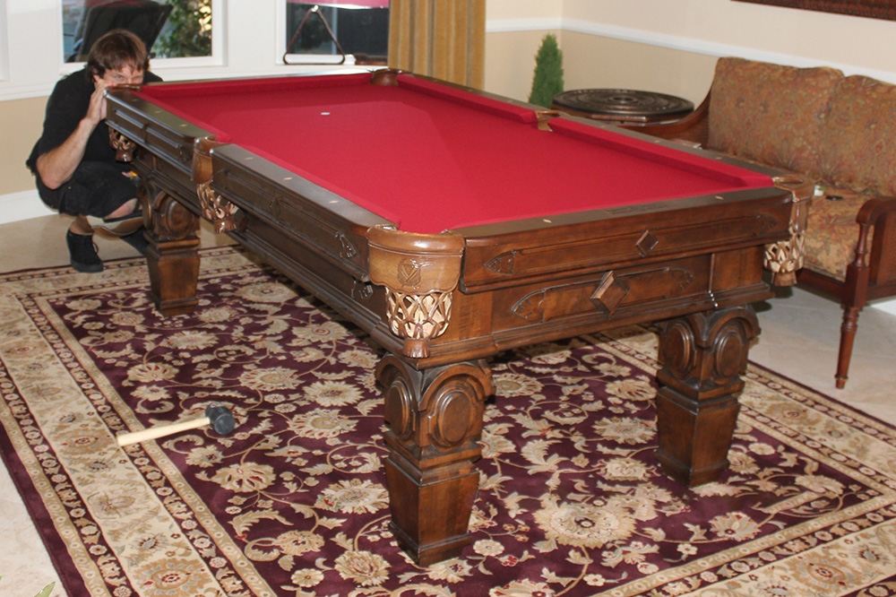 Placing An Area Rug Under A Pool Table Dk Billiard Service Tables For Supplies Orange Ca